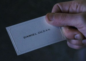 oceans 11 daniel ocean business card with copperplate gothic bold